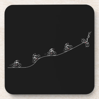 Bicyclist going over the hill drink coaster