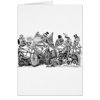Bicyclists de Calavera circa último 1800's México Tarjeta