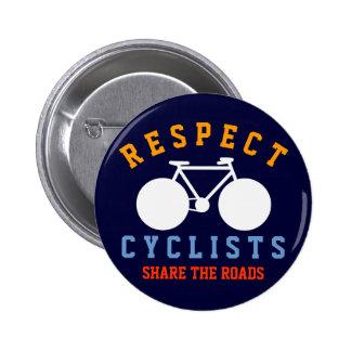 bicyclists del respecto pin redondo de 2 pulgadas