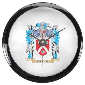 Biddle Coat of Arms Aqua Clock