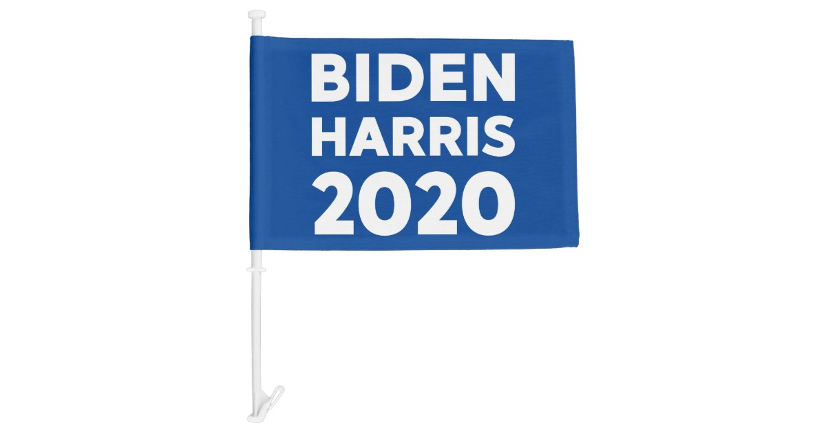 Biden Harris 2020 Bold Text On Blue Election Car Flag Zazzle Com
