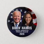 "Biden Harris 2020 Patriotic Flag Photo Button<br><div class=""desc"">Biden Harris 2020 Presidential Election.  Patriotic photo of the candidates with American flag background.  Perfect for Democrats supporting Joe Biden for president and Kamala Harris for vice-president.</div>"
