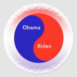 ~ Biden Yin Yang de Obama Pegatina Redonda