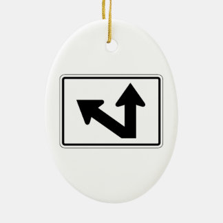 Bidirectional Arrow Up Oblique Left, Sign, USA Double-Sided Oval Ceramic Christmas Ornament