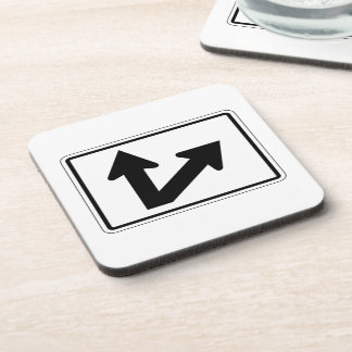 Bidirectional Arrow Up Oblique Right, Sign, USA Beverage Coaster