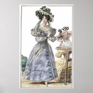 Biedermeier Fashion Print 1835 Ladies in Hats