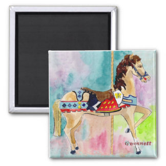Biege Carousel Horse Fridge Magnets