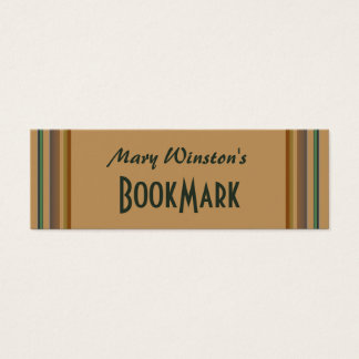 biege green lines bookmark mini business card