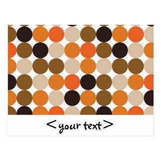 Biege Orange Brown and Indigo Dots Postcard