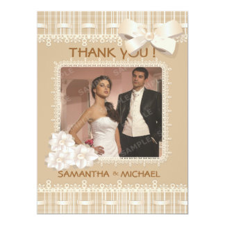 Biege Vintage Burlap Lace Photo Thank You Card
