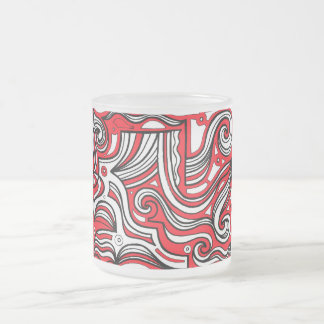 Bielefield Abstract Expression Red White Black 10 Oz Frosted Glass Coffee Mug