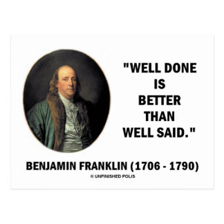 Bien bien hecha de Benjamin Franklin mejor que dij Tarjeta Postal