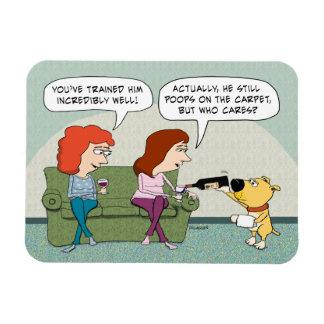 Bien entrenado divertido, perro de la Vino-Porción Imán Rectangular