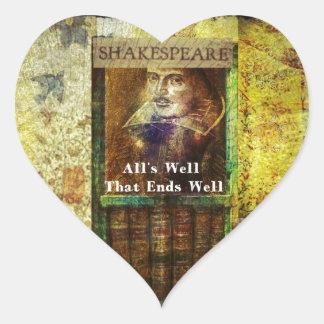 Bien está lo que bien acaba - cita de Shakespeare Pegatina En Forma De Corazón