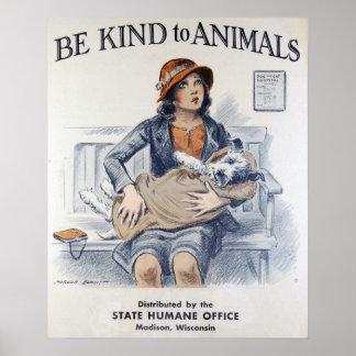 Bienestar animal del vintage póster