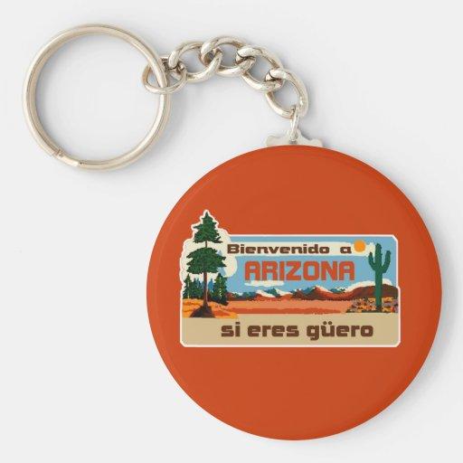 Bienvenido a  Arizona si eres guero  2Gio Basic Round Button Keychain