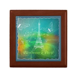 Bienvenue a Paris French Collage Eiffel Tower Keepsake Box