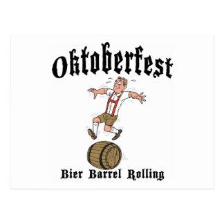 Bier Barrel Rolling Oktoberfest Gift Postcard