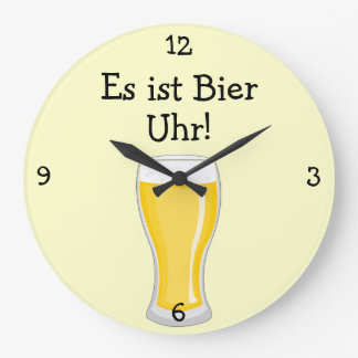 Bier Uhr: Beer O'Clock Oktoberfest Fun Large Clock