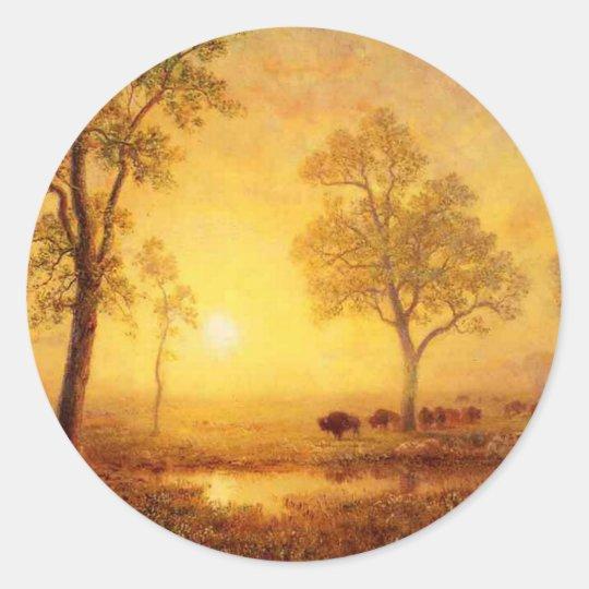 Bierstadt Albert Sunset on the Mountain Classic Round Sticker