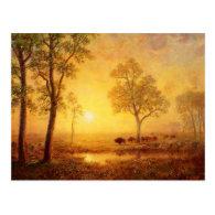 Bierstadt Albert Sunset on the Mountain Post Card