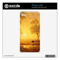 Bierstadt Albert Sunset on the Mountain Skins For iPhone 4S
