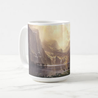 Bierstadt Deer Waterfalls Lake Sierras Animals Mug