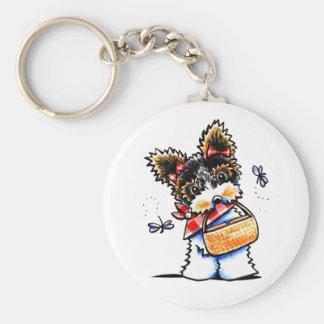 Biewer Yorkie Picnic Time Keychain