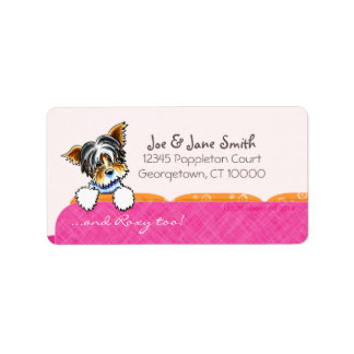 Biewer Yorkie Pink Couch Custom Pet Name Label