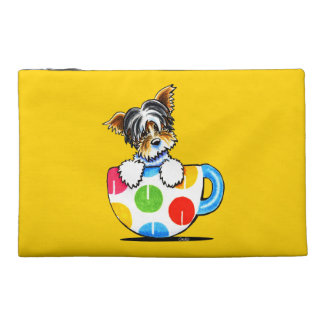 Biewer Yorkie Polka Dot Cup Travel Accessory Bags