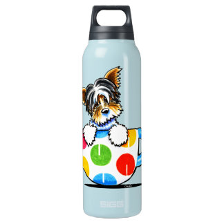 Biewer Yorkie Polka Dot Cup Insulated Water Bottle