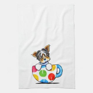 Biewer Yorkie Polka Dot Cup Kitchen Towels