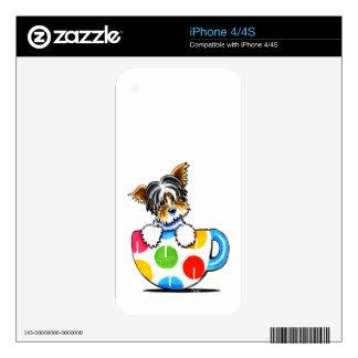 Biewer Yorkie Polka Dot Cup iPhone 4S Decal