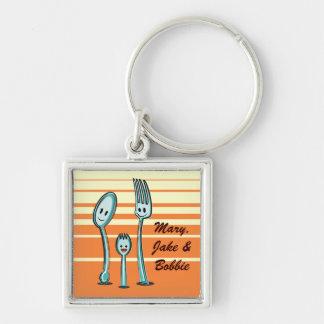 Bifurcación + Spoon Spork Llaveros Personalizados