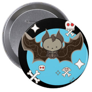 Big 10.2 cm (4'') round badge with a cool bat pinback button