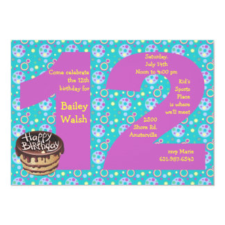 Girls 12th Birthday Party Invitations & Announcements | Zazzle