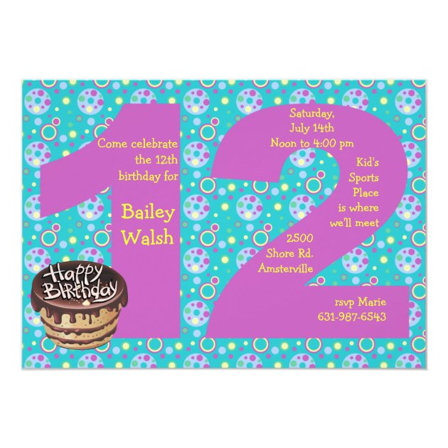 Big 12 Birthday Party Invitation Zazzlecom