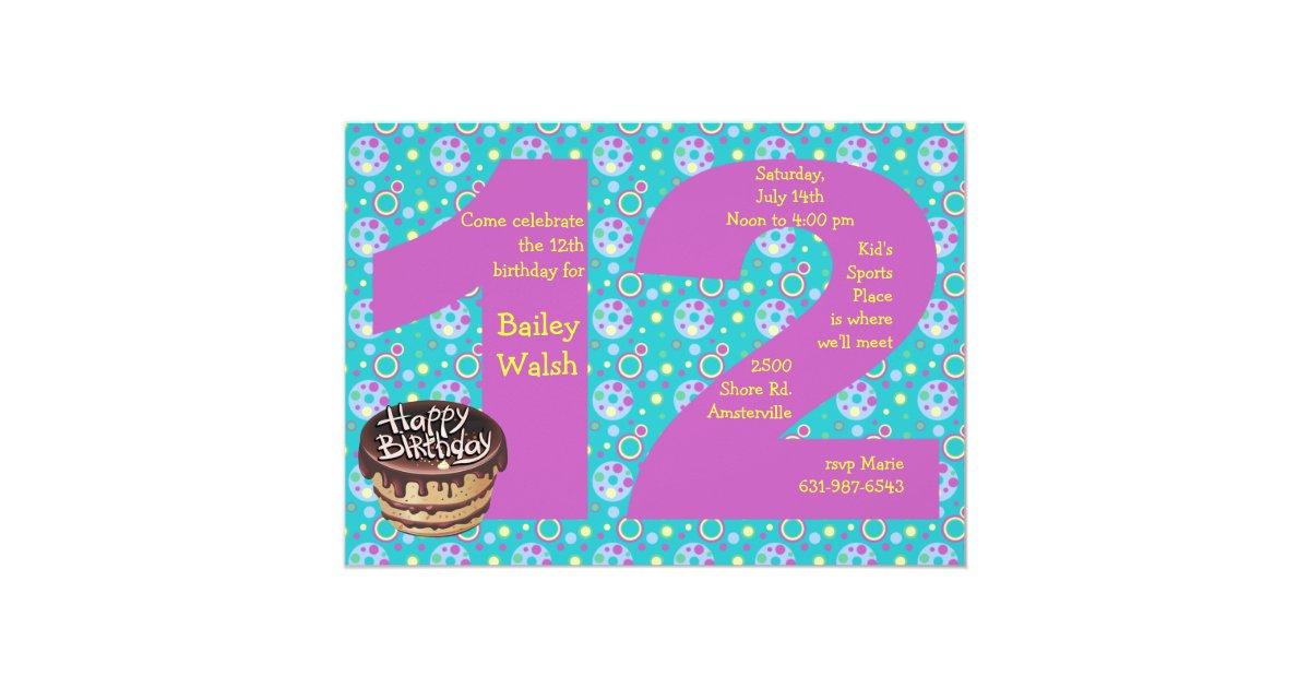 Comfortable 12th birthday invitation ideas invitation card ideas big 12 birthday party invitation zazzle filmwisefo Image collections