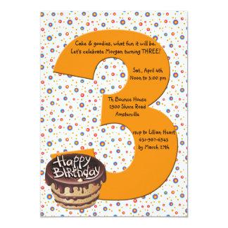 "Big 3 Birthday Party Invitation 5"" X 7"" Invitation Card"