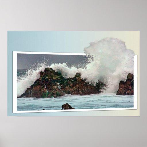 Big 3-D wave in Monterey, CA, canvas print