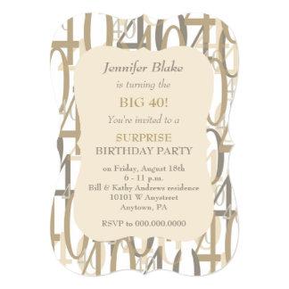 Big 40 Gold Birthday Party Card