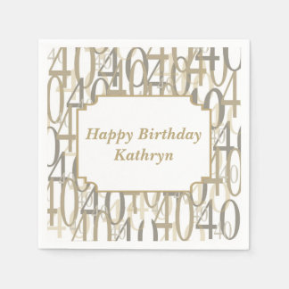 Big 40 Personalized Birthday Party Paper Napkin
