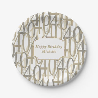 Big 40 Personalized Birthday Party Paper Plate