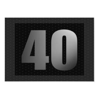Big 40 With Dots Invitation, Black and Gray 5x7 Paper Invitation Card