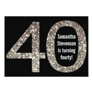 "Big 4-0 Birthday Glitter-Look 40th Party 4.5"" X 6.25"" Invitation Card"