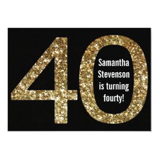 "Big 4-0 Birthday Gold Glitter-Look 40th Party 4.5"" X 6.25"" Invitation Card"