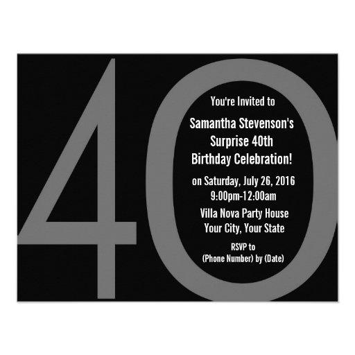Big 4-0 Birthday Party Invitations
