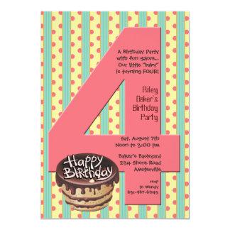 Big 4 Birthday Party Invitation