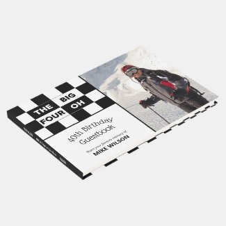 Big 4 Oh Photo Black White Checkered 40th Birthday Guest Book