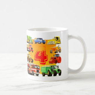 Big 4th Birthday Trucks Mugs